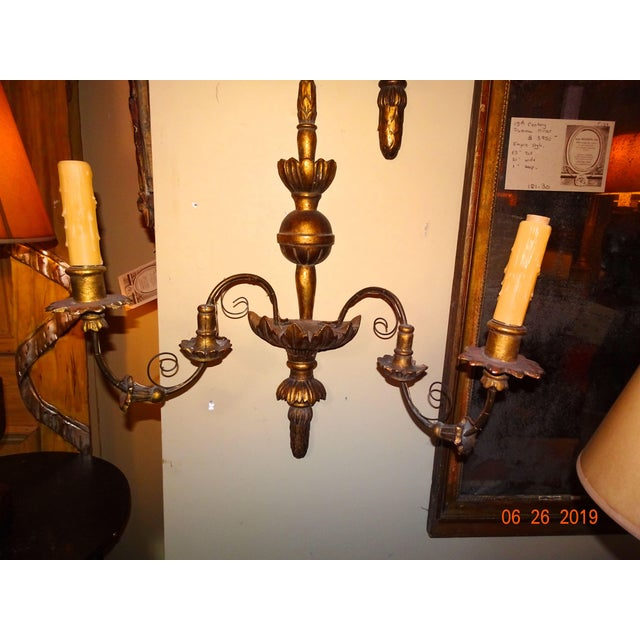 19th Century Pair of French Gilt Wood Sconces For Sale - Image 9 of 11