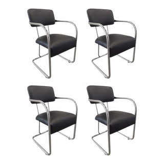 Set of Four Chrome Chairs by KEM Weber For Sale