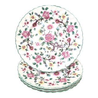 Old Foley Chinese Rose Staffordshire Dinner Plates - Set of 4 For Sale