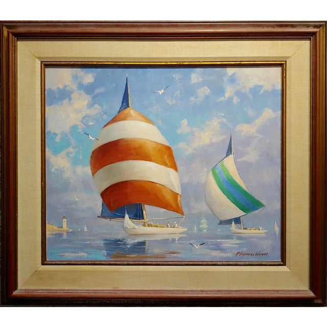 """Redmond Stephens Wright - Colorful Sailing Boats -Oil painting oil painting on canvas -Signed frame size 29 x 33"""" canvas..."""