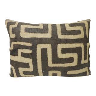 Vintage Tan and Brown African Artisanal Kuba Raffia Decorative Bolster Pillow For Sale