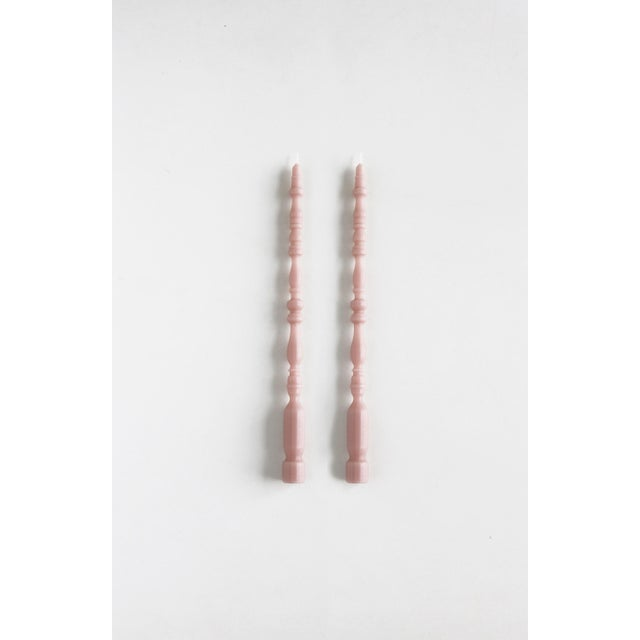 Modern Spindle Leg Taper Beeswax Candles in Rosewater - a Pair For Sale - Image 3 of 3