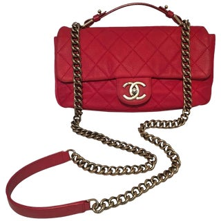 Chanel Red Nubuck Caviar Leather Classic Flap Shoulder Bag For Sale