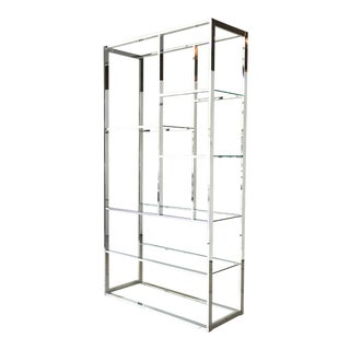 Single Milo Baughman Chromium Steel Framed Etagere 1970s For Sale