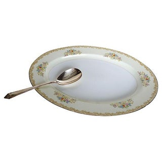 Serving Platter & Silver-Plate Serving Spoon For Sale