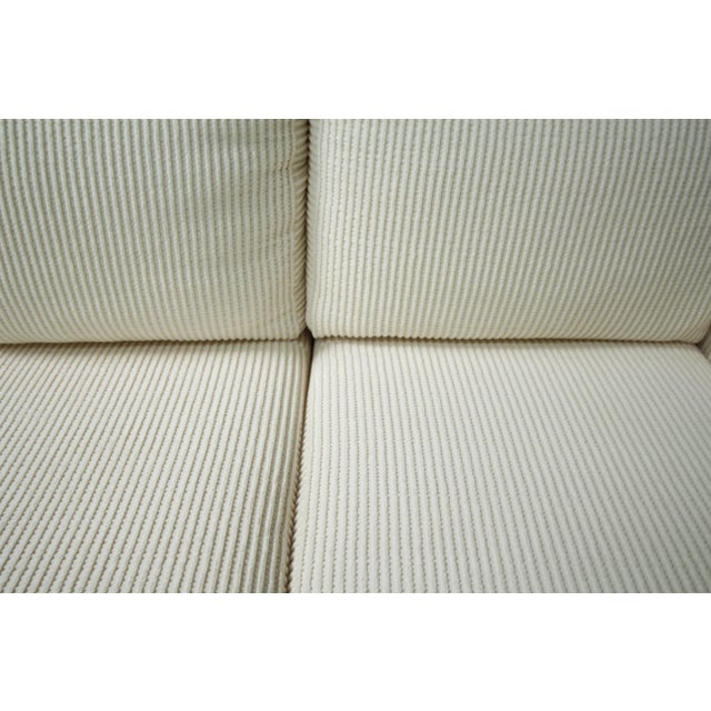 Milo Baughman Inspired 3-Piece White Chenille Modernist Sectional Sofa For Sale - Image 6 of 7