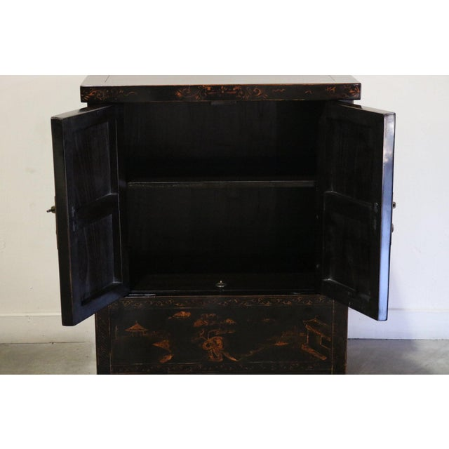 Late 20th Century Late 20th Century Black Lacquer and Gilt Painted Cabinet For Sale - Image 5 of 11