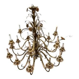 Italian Tole Floral Chandelier For Sale