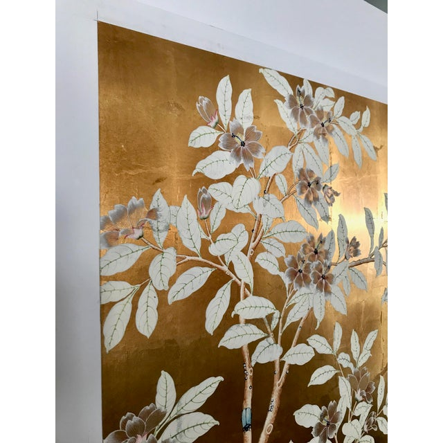 Stunning old handpainted wallpaper panel in warm gold metal leaf with white floral and bird motif. Some age to the panel...