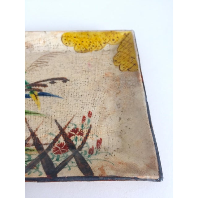 Vintage Mid Century Japan Studio Art Pottery Square Pressed Hand Painted Artisan Ceramic Plate Dish For Sale In Kansas City - Image 6 of 11