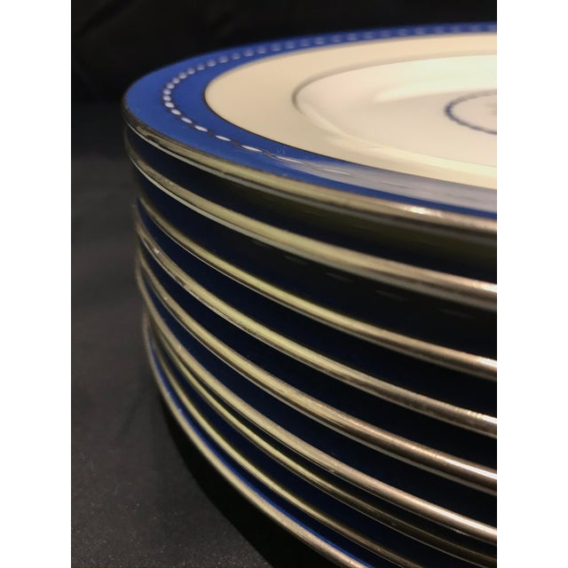 "Ceramic Mid 19th Century Minton ""Torch and Ribbon"" Blue Presentation Dinner Plates - Set of 10 For Sale - Image 7 of 10"