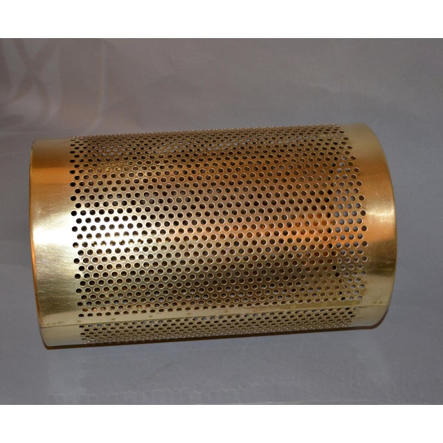 1970s Vintage Italian Frontgate Brass Perforated Trash Waste Basket For Sale - Image 5 of 13