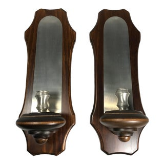 1980s Candle Holders Candlesticks Wall Mount Sconces - a Pair For Sale