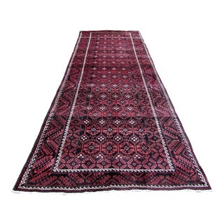 1970s, Handmade Vintage Afghan Baluch Rug 4.9' X 12.10' For Sale