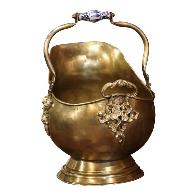 Mid-19th Century French Brass, Bronze and Porcelain Coal Bucket For Sale
