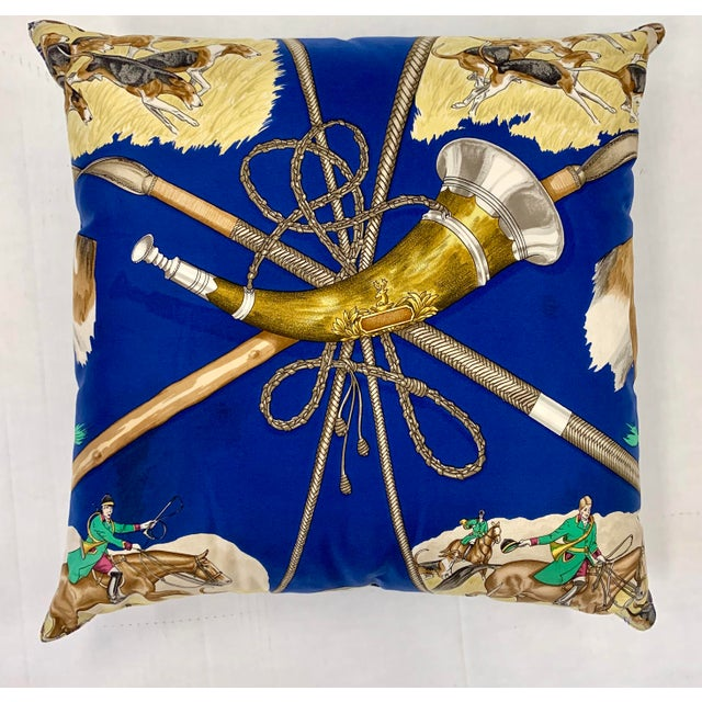 Blue Hermès Paris Blue Silk Scarf Fox Hunt Pillow For Sale - Image 8 of 8