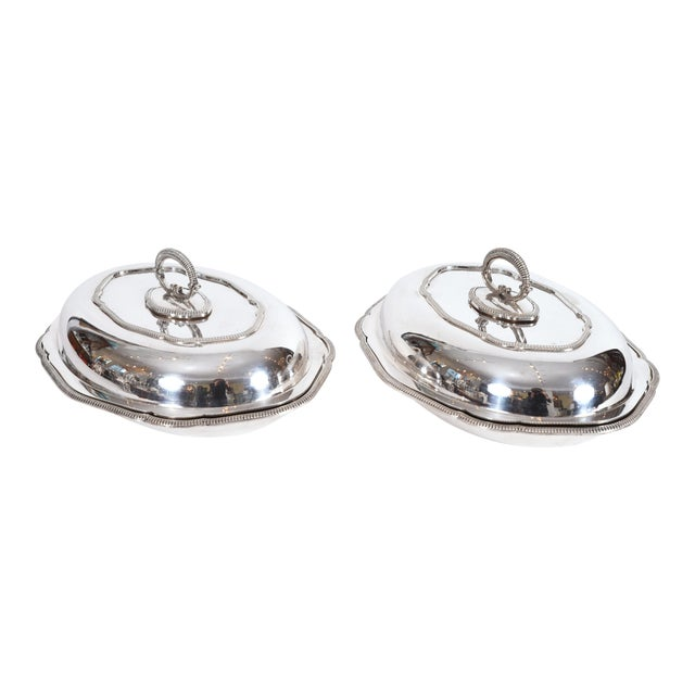 Vintage English Silver Plated Tableware Serving Dishes - a Pair For Sale