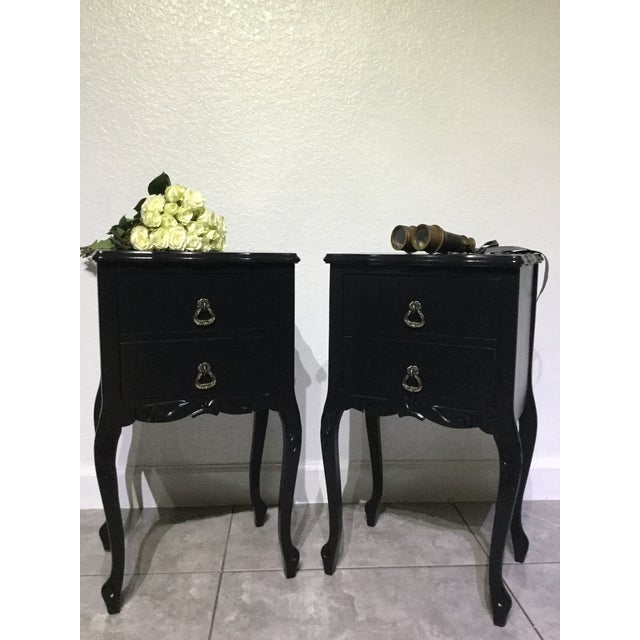 Set of two Vintage early 1930s country side tables, made from solid wood, refinished with no toxic black milk paint, and...