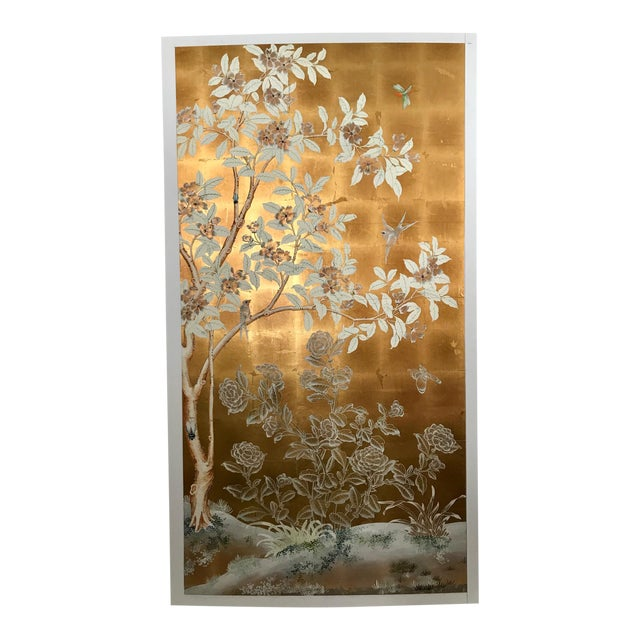 Chinoiserie Old Handpainted Wallpaper Panel, Mounted on Foam Core For Sale