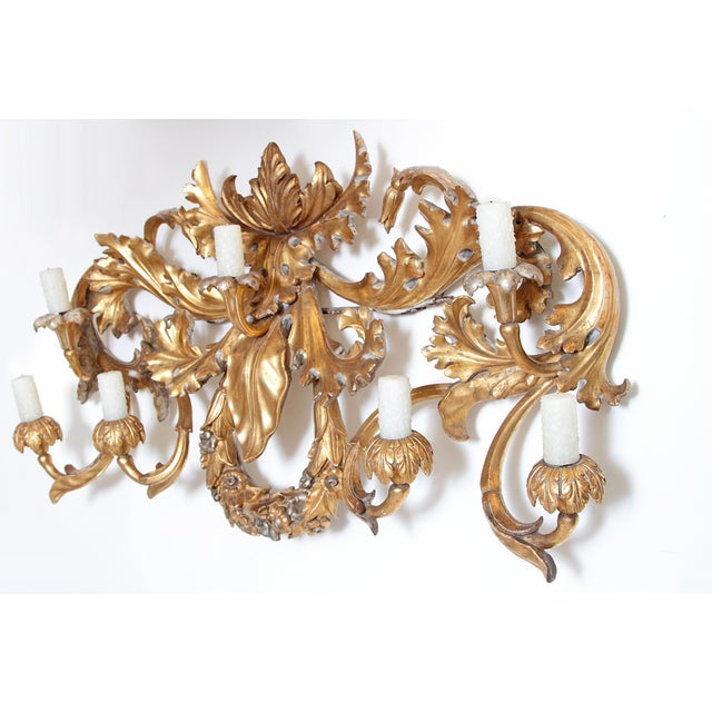 Gesso Oversized Italian Baroque-Style 7-Arm Gilt and Silvered Wood Wall Sconce For Sale - Image 7 of 13