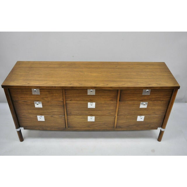 Vintage Mid Century Modern Walnut & Chrome 9 Drawer Credenza Dresser With Mirror For Sale - Image 4 of 12