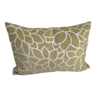 Contemporary Chartreuse Chenille Feather Down Accent Pillow For Sale