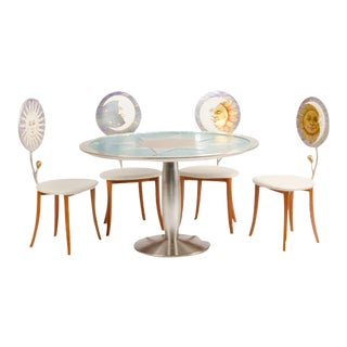 1985 Contemporary Fornasetti-Style Dining Set - 5 Pieces For Sale