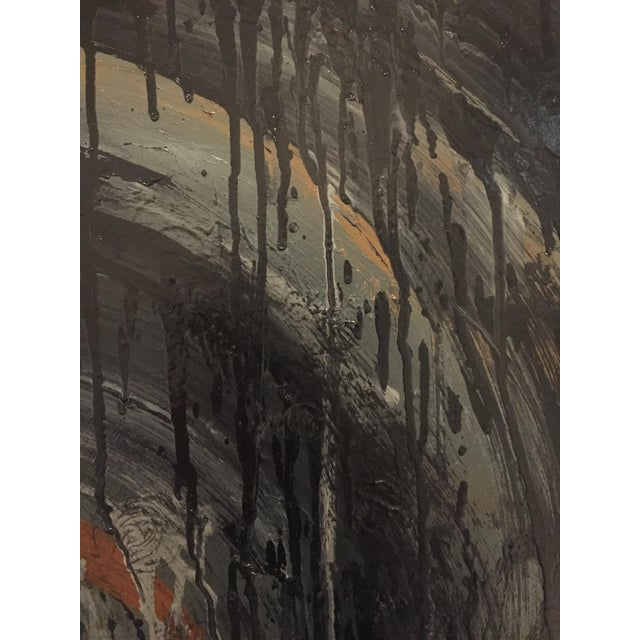 Abstract Kennan Del Mar 'Black Hole on Black' Painting, Oil and Pastel on Canvas For Sale - Image 3 of 6