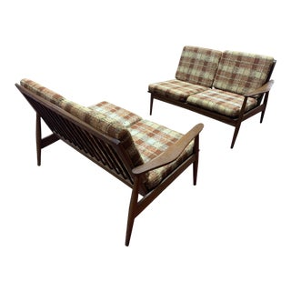 Vintage Mid Century Modern Oak Sectional Sofa - a Pair For Sale