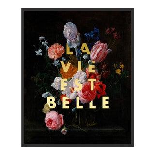 La Vie Est Belle by Lara Fowler in Black Framed Paper, Small Art Print For Sale