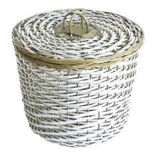 Vintage Woven Two-Tone Metal Wire Lidded Basket For Sale