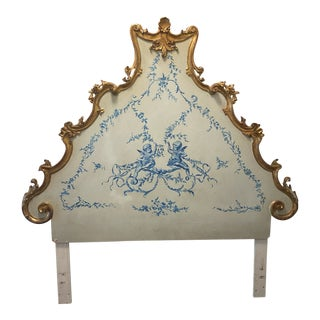 Venetian Style Gilt and Painted Queen Size Headboard For Sale