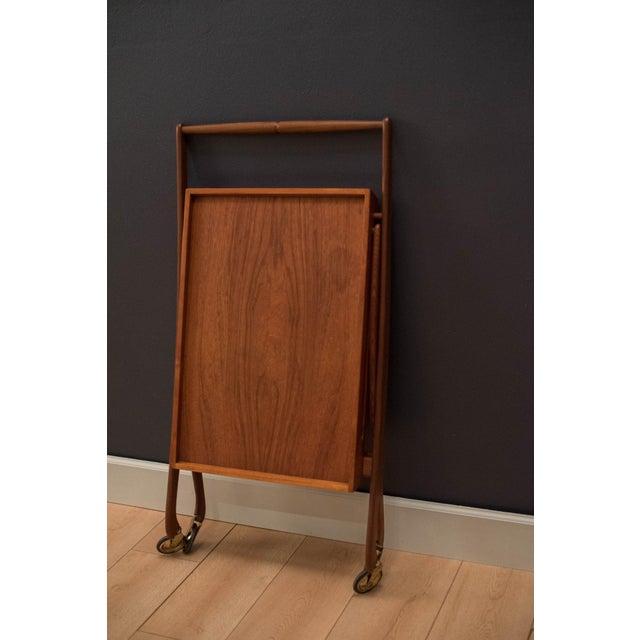 Danish Modern Teak Folding Bar Cart For Sale - Image 9 of 10