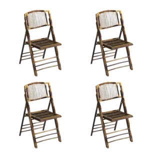 Folding Rattan Chairs, Set of 4, Brown, Rattan For Sale