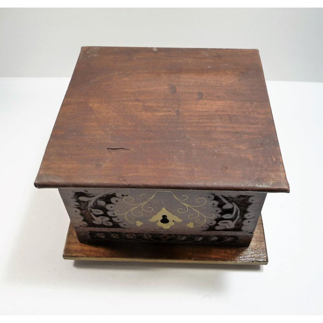 Vintage Moroccan Style Hand Carved Inlay Wood Box W Key - Image 11 of 11