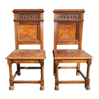 Antique Carved Claw Feet Accent Chairs - A Pair For Sale