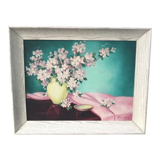 Vintage Mid Century Cherry Blossoms Painting, Signed For Sale