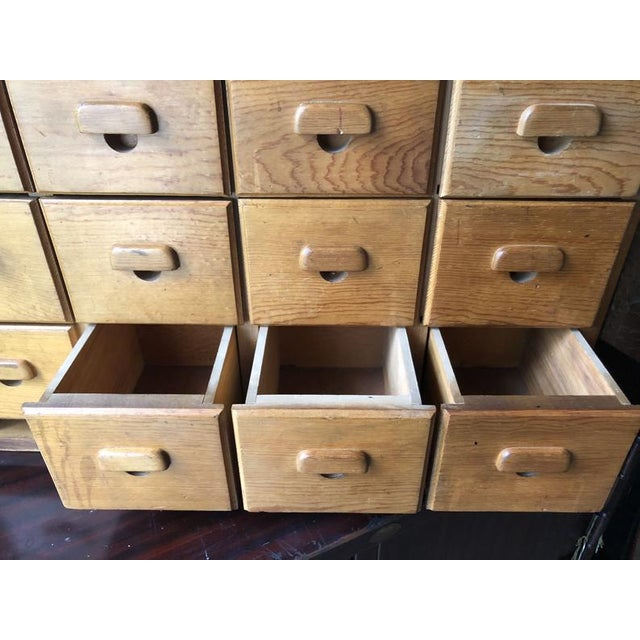 Wood Antique Multi Drawer Cabinet For Sale - Image 7 of 11