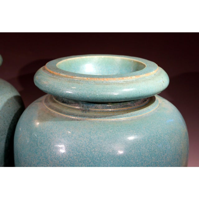 Turquoise Large Pair of Galloway Terracotta Company Pottery Turquoise Urns Vases For Sale - Image 8 of 12
