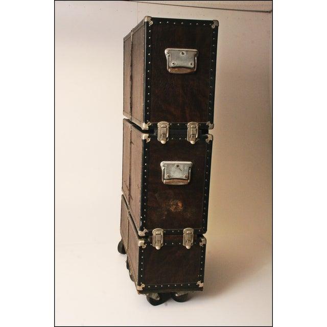 Vintage Industrial Black Steamer Storage Trunk - Image 6 of 11