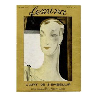 """Femina, February 1927"" Original Vintage French Magazine Cover For Sale"
