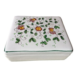 "Vintage Italian Faience Hand-Painted Box-6""x 5"" For Sale"