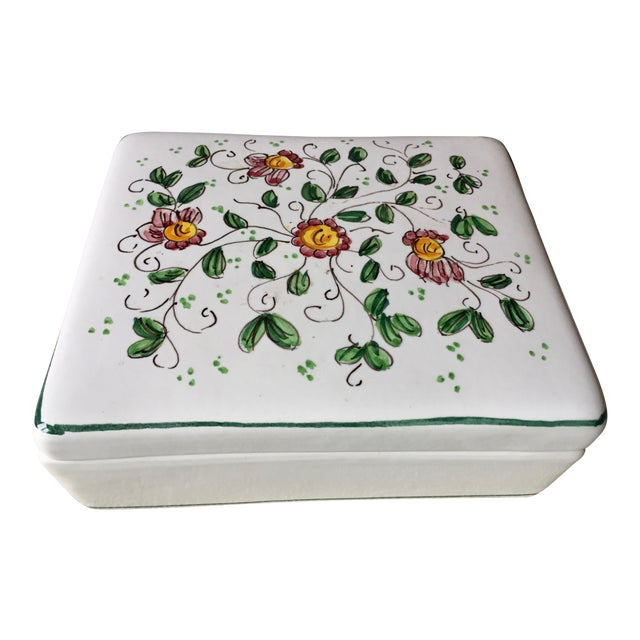 """Vintage Italian Faience Hand-Painted Box-6""""x 5"""" For Sale"""