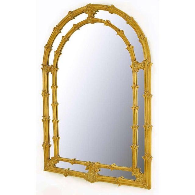 "Umber glazed arched top ""frame in frame"" mirror. Repeating vines or stalks make up the frames, connected by fleur de lis..."