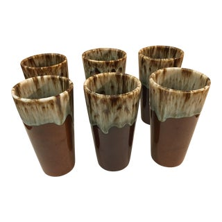 Brown & Green Drip Glaze Pottery Cups - Set of 6 For Sale