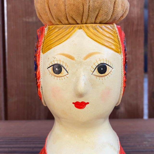 Paper Gemma Taccogna Paper Mache Lady Pin Cushion Doll For Sale - Image 7 of 9
