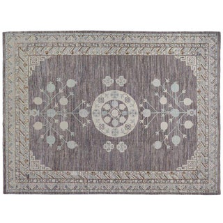 Khotan Grey & Taupe Rug - 8′10″ × 11′8″ For Sale
