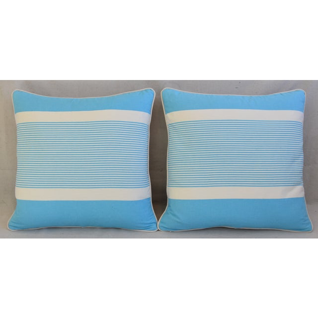 Pair of custom-tailored pillows in vintage French blue-and-white striped cotton fabric. New bone white velvet fabric...