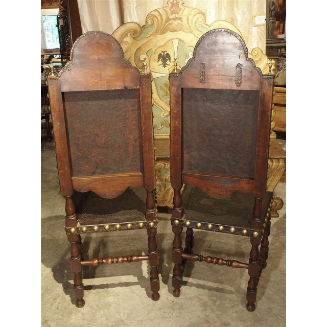 Pair of Antique Oak, Leather, and Brass Side Chairs From Portugal, 19th Century For Sale - Image 11 of 13