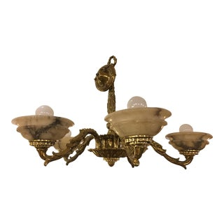 Vintage Brass & Alabaster Five Light Chandelier